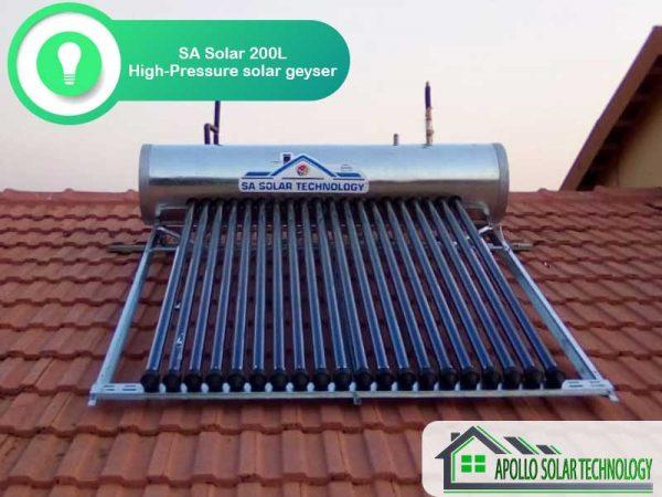 SA Solar 200L High-Pressure Solar Geyser