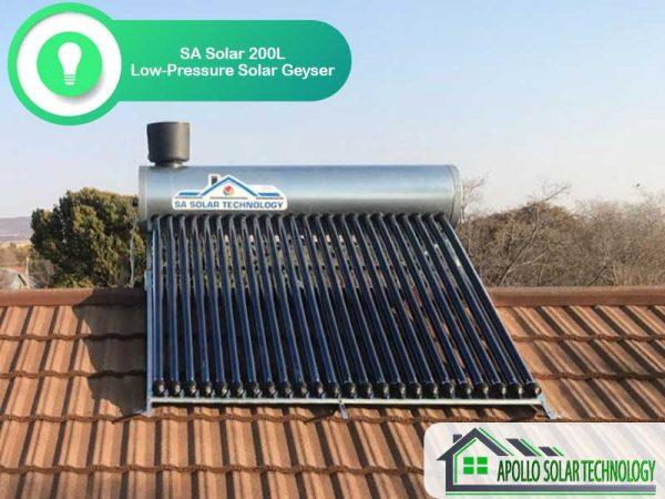 SA Solar 200L Low-Pressure Solar Geyser