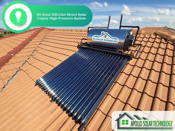 SA Solar 200 Liter Direct Solar Geyser